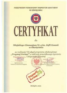 certyfikat trzymaj formę